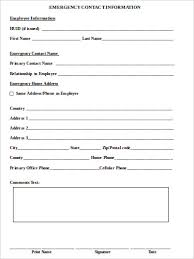 template for emergency contact information sample employee emergency contact form 7 examples in word