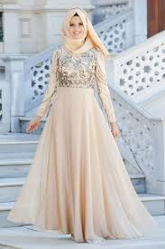 Neva Style Evening Dress Lace Detailed Gold Hijab Dress