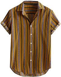<b>Men's</b> Ethnic Style Shirt Long-<b>Sleeved Striped Printed</b> Casual Button ...