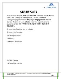 Employment Certificate Letter Sample Certification Letter