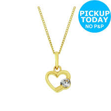 details about revere kid s 9ct gold cubic zirconia heart pendant 14 inch necklace