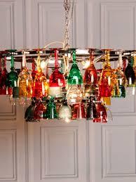 coloured wine glass chandelier