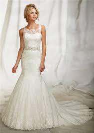 mermaid illusion neckline sheer back lace wedding dress with