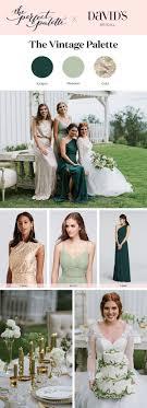 David S Bridal Design Your Wedding Party Wedding Palette Idea Vintage Inspired Gold Deep Juniper