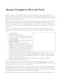Microsoft Word 2007 Resume Template Resume Templates For Word