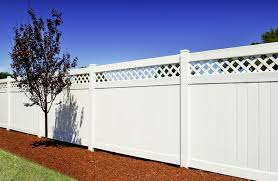 white fence. Classic White PVC Privacy Vinyl Fence Panels With Lattice Topper From Illusions Traditional-landscape