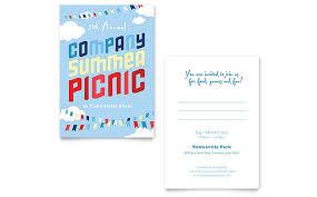 Company Summer Picnic Invitation Template Word Publisher