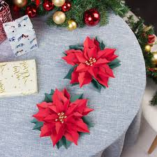 Paper Flower Christmas Tree 3pcs 3d Christmas Poinsettia Flowers Paper Flowers Christmas Tree