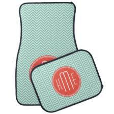 chevron car floor mats. Brilliant Mats Chic Aqua Green Chevron And Orange Custom Monogram Car Mat To Floor Mats
