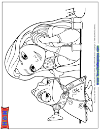 Small Picture Rapunzel Looking At Pascal In Dress Coloring Page H M Coloring
