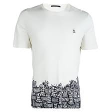 Louis Vuitton Off White Cotton Printed Logo Detail T Shirt Xl