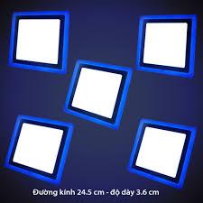 Bộ 5 đèn led nổi ốp trần 24w vuông 2 màu 3 chế độ ánh sáng trắng xanh  dương, Giá tháng 10/2020