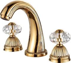 free ship gold pvd 8 inch widespread bathroom lavatory sink faucet crystal handles tap