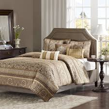 madison park bellagio 6 piece quilted coverlet set king brown gold