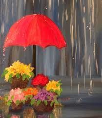 rainy day flowers paint blank canvas