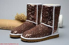 New addition 2017 New UGG Classic Short Sparkles Boots Brown for sale