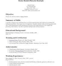 Student Nurse Sample Resume Resume Examples Graduate Sample Student