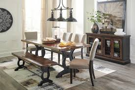 table 4 chairs and bench. zurani rect drm table, 4 uph side chairs \u0026 large bench table and l