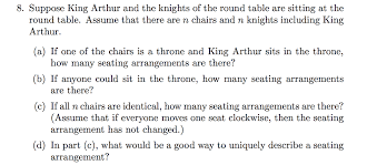 suppose king arthur and the knights of the round table are sitting at the