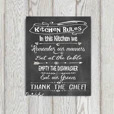kitchen rules sign kitchen printable