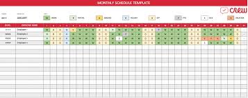 Free Employee Schedule Calendar Free Download Free Monthly Work Schedule Template Crew Top