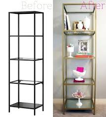 ikea glass shelf unit shelving unit spray painted gold 3 cans rust metallic spray paint in ikea glass shelf
