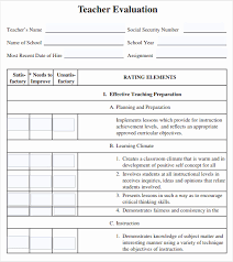 teacher feedback form 50 unique image teaching evaluation form template form template