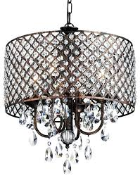 bronze drum chandelier crystal black contemporary pendant oil rubbed round