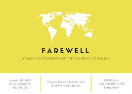 Invitation Cards For Farewell Party Yellow Minimal Farewell Party Invitation Card Templates By Canva