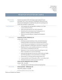 Police Officer Resume Templates New Probation Officer Resume Samples Tips  and Templates