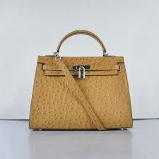 Hermes Kelly Apricot <b>Ostrich</b> Vein <b>Leather</b> Silver Buckle Bag Phony ...