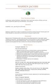 Sample Resume For Computer Operator Best Of Computer Operator Resume Samples VisualCV Database Shalomhouseus