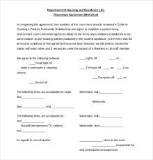 Sample Roommate Contract Template Roomate Agreement Roommate Agreement Template 11 Free Word