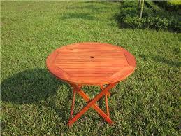 hardwood wooden folding round garden patio table folding