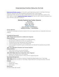 Resume Writing Samples For Freshers Engineers Sidemcicek Com