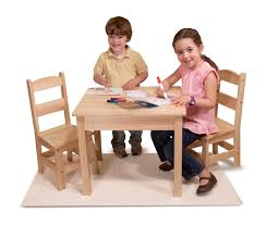 Amazon.com: Melissa \u0026 Doug Solid Wood Table and 2 Chairs Set ...