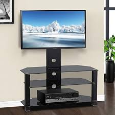 yaheetech 3 tier adjule black glass cantilever tv stand