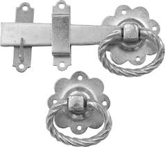 twisted ring gate latch bright zinc plated png