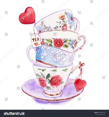 tea cup heart clip art. Plain Art Party Colorful Tea Cups And Saucers Closeup Sketch Handmade Postcard For  Valentineu0027s Day With Tea Cup Heart Clip Art O