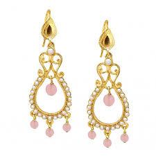 rose quartz and pearl beaded chandelier earrings