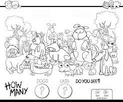 Tellen Van Katten En Honden Kleurplaat Boek Stockvectorkunst En Meer