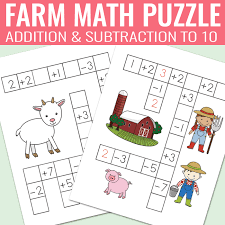 Farm Math Puzzles - Addition and Subtraction Worksheets - Easy ...