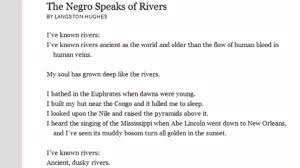 the negro speaks of rivers by langston hughes analysis