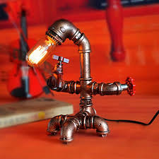 Water Lamps Vintage Edison Bulb Table Lamp Dimmable Water Pipe Light Tube