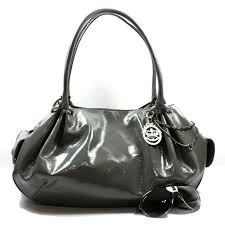 dark grey patent leather handbags