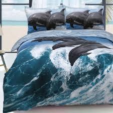 dolphin waves blue 3d reversible duvet quilt cover set marine ocean fish bedding single 450176