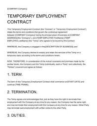 Temporary Employment Contract Template Employment Contract Sample 10 Free Templates Edit And