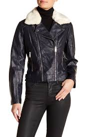 image of french connection faux fur collar moto jacket
