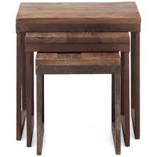 antique metal and distressed natural wood nesting tables
