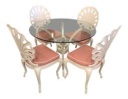 Vintage brown jordan grotto shell back white powdercoated outdoor patio dining table and chairs set of 5 chairish